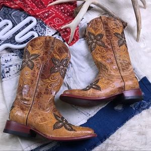 Ferrini Western Floral Bling Cowgirl Boots 9.5